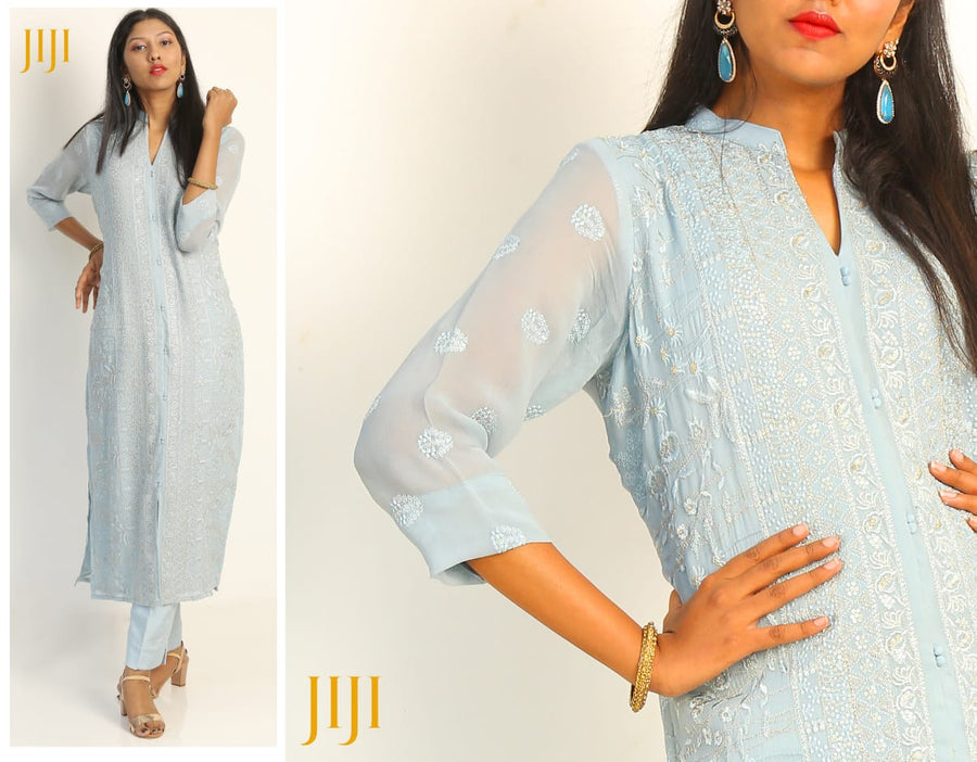Pastel Blue Long Dress- Custom Made| JijiSilkCollections