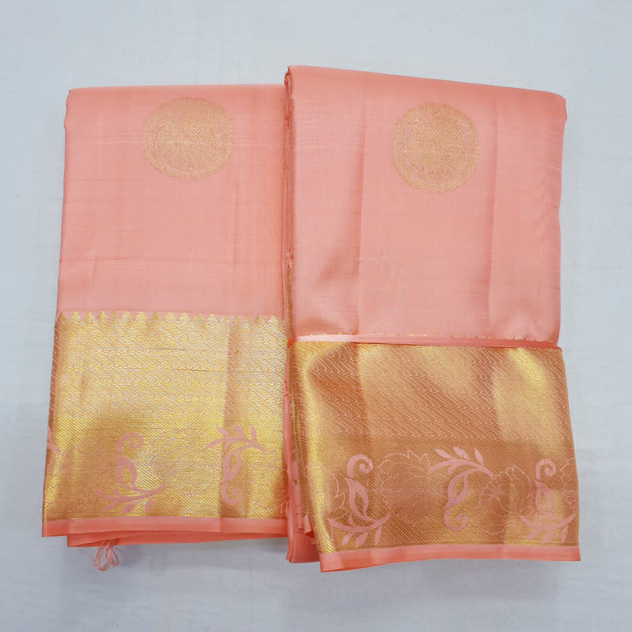 PEACH SHADE PURE KANCHIPURAM SILK