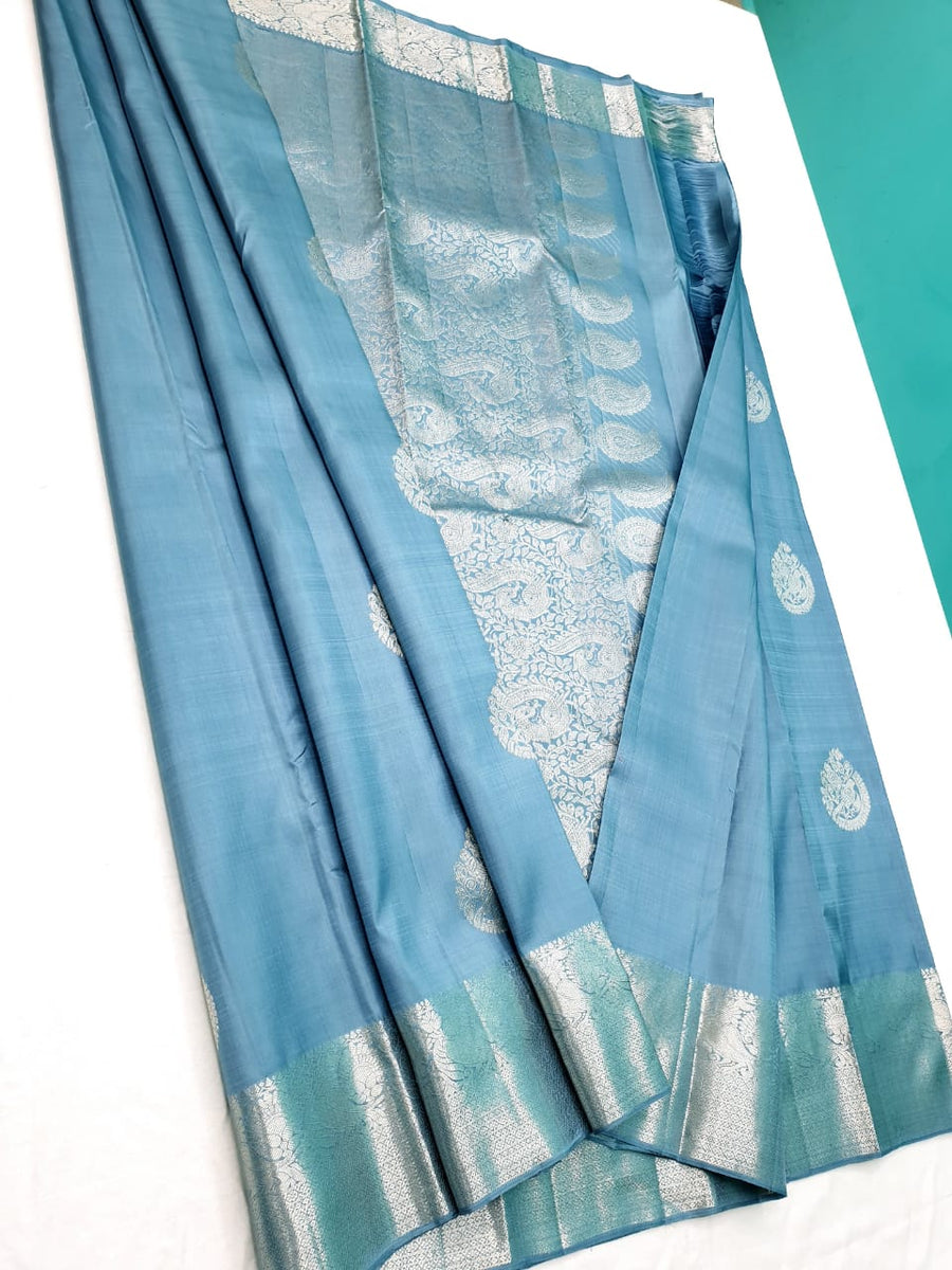 Pastel Bluish gray pure kanchipuram silk