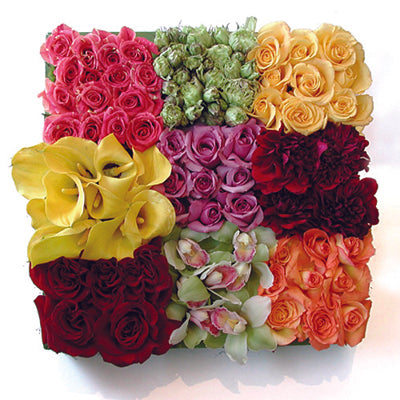 Sectioned Box of Colorful Flowers