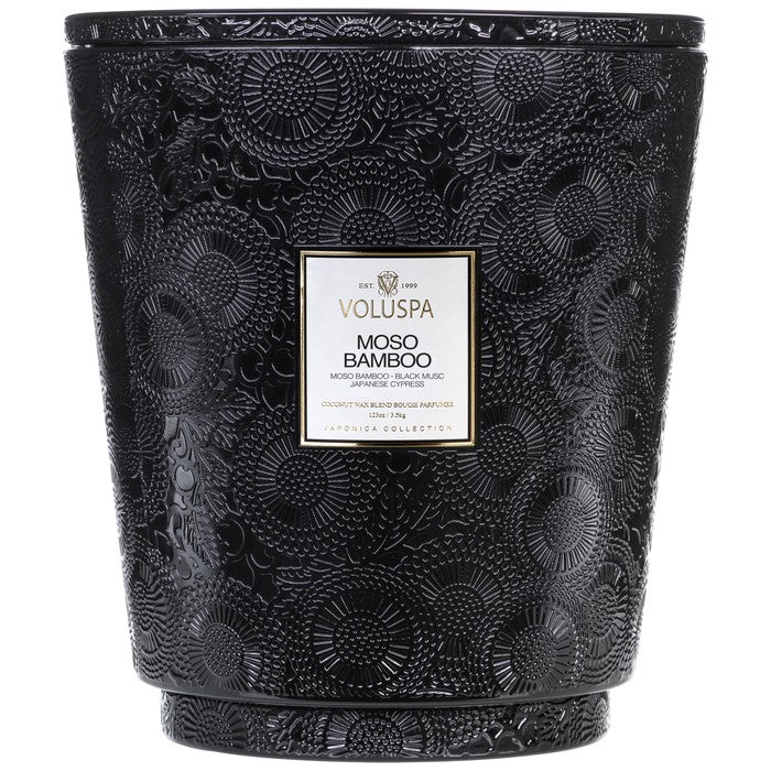Voluspa - Hearth 5 Wick Glass Candle - Moso Bamboo