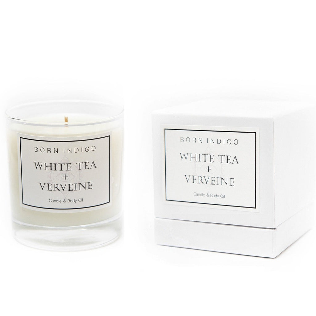 BORN INDIGO - CANDLE - WHITE TEA + VERVEINE