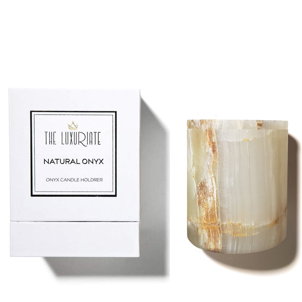 THE LUXURIATE - REUSABLE CANDLE HOLDER - NATURAL ONYX VESSEL