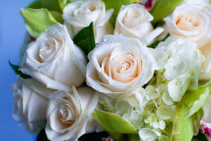 Mixed Whites Roses and Orchids Fishbowl