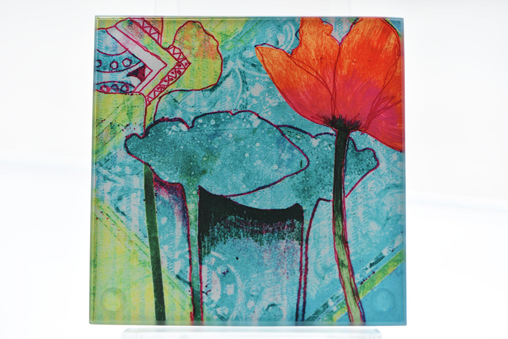 Carol Nunan Coasters - Flame Red Poppy