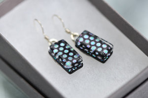 Jade Tapson - Dangle Spotted Dichroic Earrings Sterling Silver