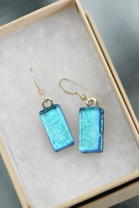 Jade Tapson - Dangle Blue Dichroic Earrings Sterling Silver