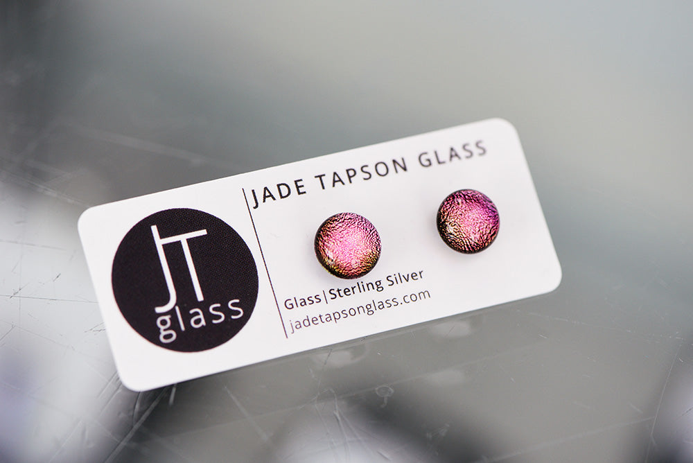 Jade Tapson - Studed Dichroic Earrings Sterling Silver - Pink