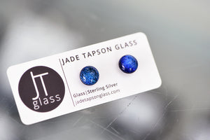Jade Tapson - Studed Dichroic Earrings Sterling Silver - Blue/Turquoise