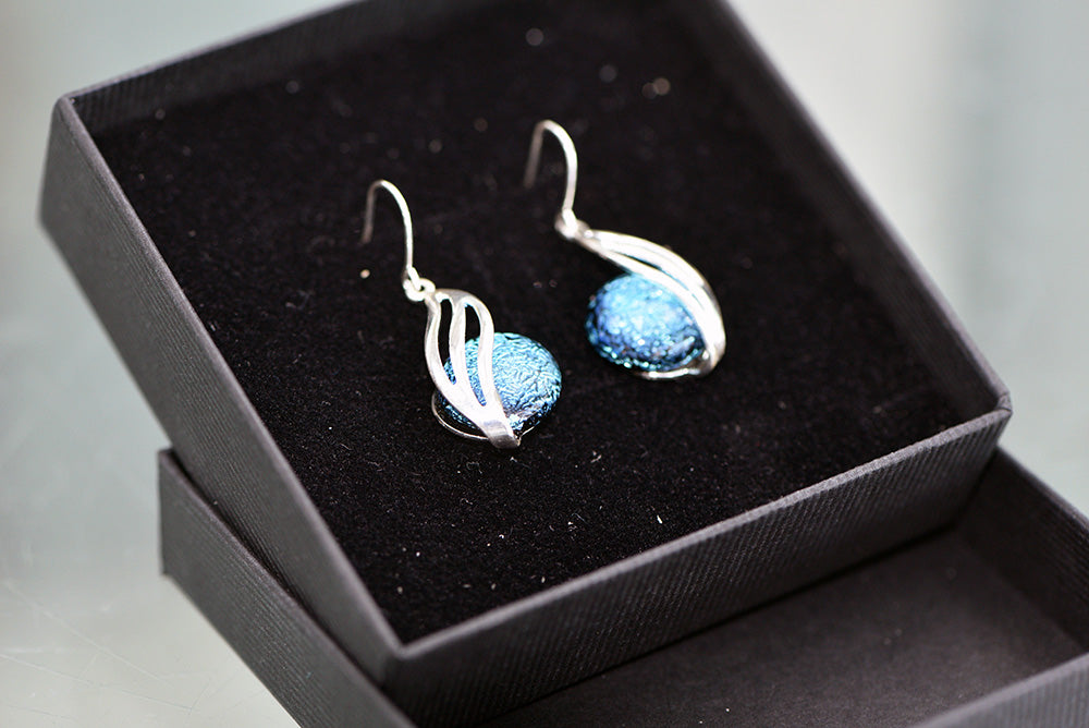 Bede Glass - Large Drop Earrings - Silver Plated