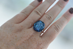 Bede Glass - Blue Dichroic Glass Ring