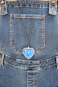 Multicoloured double sided heart necklace - long chain