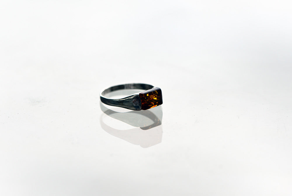 Square Amber Ring