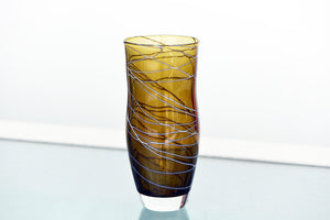 Medium Wide Neck Vase - Brown and White Trail