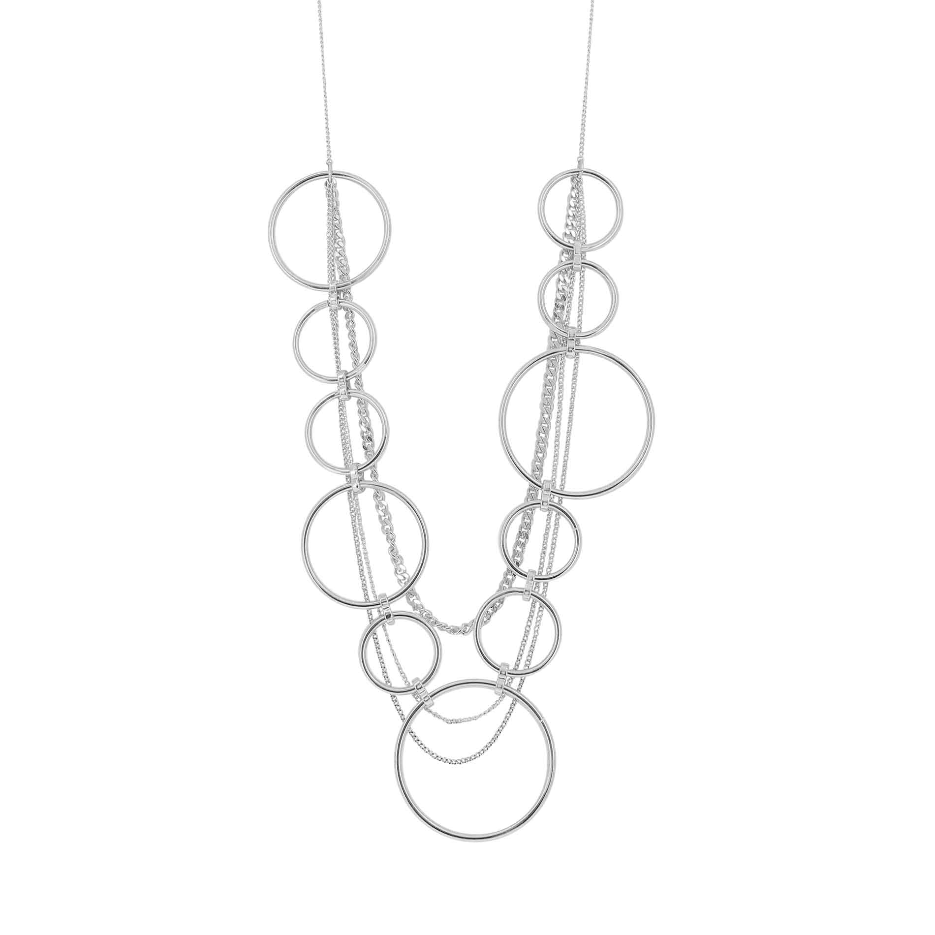 Infinity Long Multi Necklace Rhodium Plated
