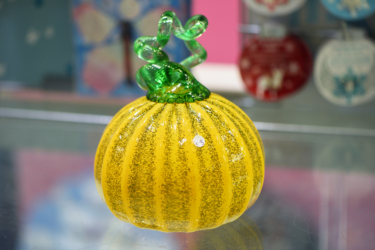 Orange and Green Pumpkin with Green Stalk