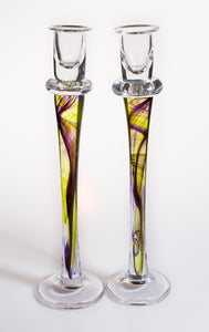 Jane Charles Pair Glass Candlesticks