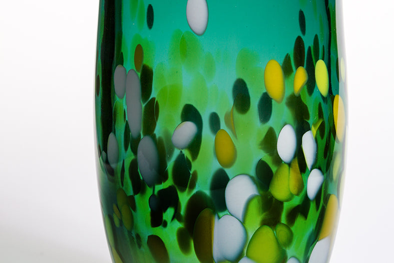 Medium Green Vase with White, Yellow and Green Spots