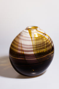 Medium Vase with Amber, Brown and White Details