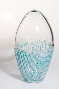 Clear Vase with Aqua Cane Detail