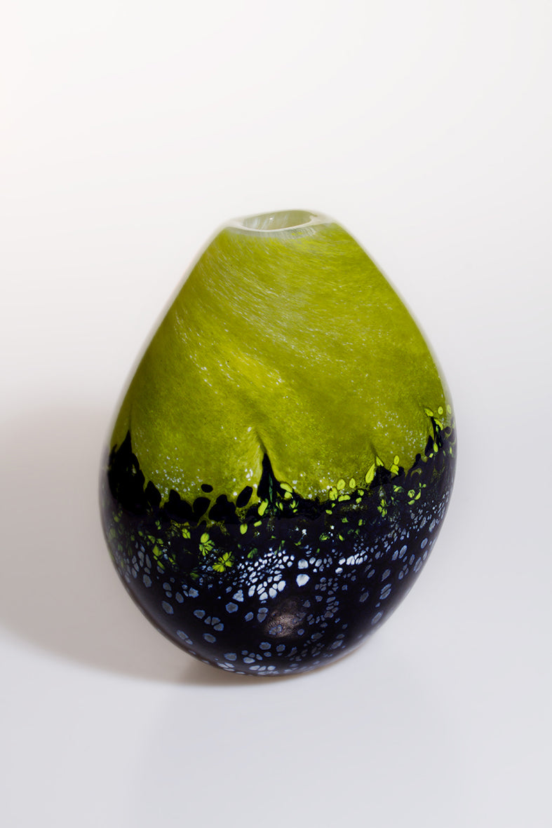 Medium Green and Black Vase