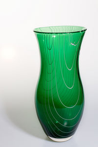 Large Green Vase with White Trail