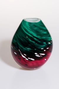 Small Dark Green/Red Vase