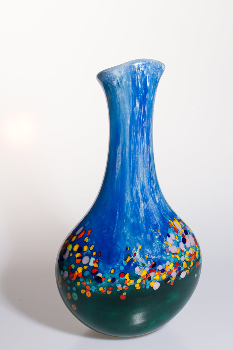 Long Neck Scenery Vase - Blue and Multicoloured