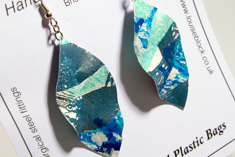 Louise Block Earrings Blue/Green Leaf