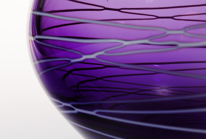 Large Purple Vase with White Details