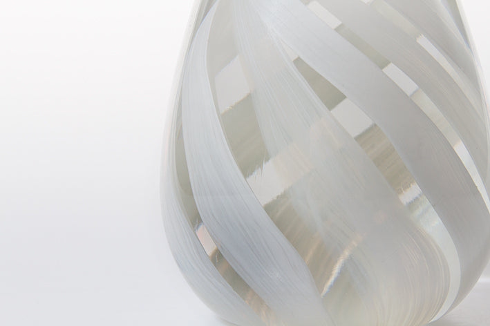 Tall Paperweight - Clear and White
