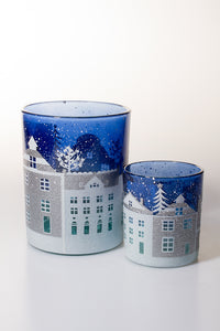 Glass T Light Holder Blue Houses (2 sizes available)