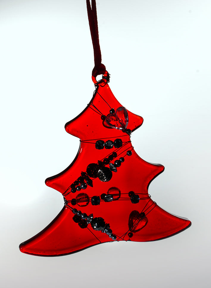 Glass Christmas Tree with Beads (3 designs)