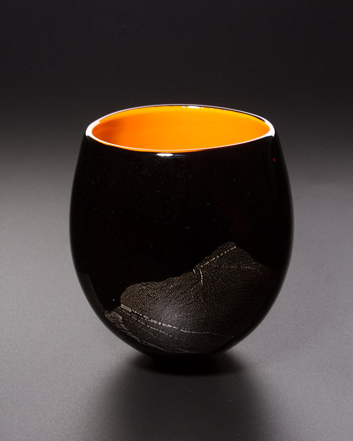 James Maskrey: Small Japanese Bowl - Orange & Black