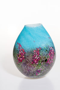 Medium Vase with Turquoise and Pinks