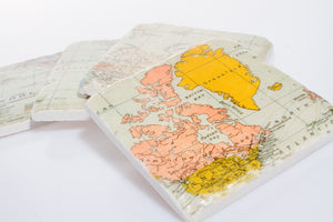 Coasters Vintage Map Design