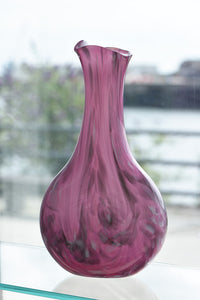 Tall Fluted Vase - Pink and Grey