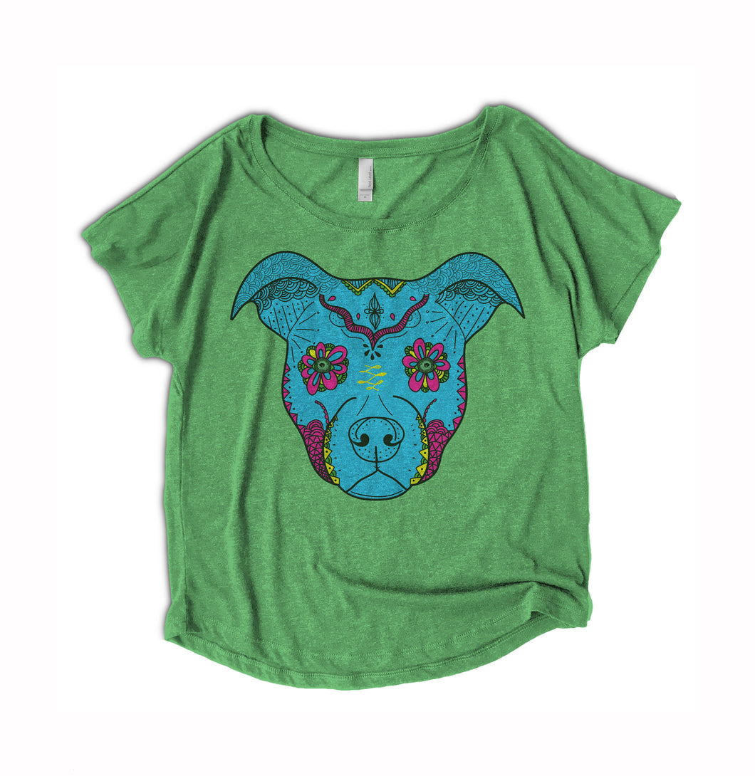 Sugar Skull Pitbull Womens Shirt