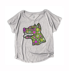 Flower Pitbull Womens Shirt