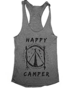 Happy Camper Womens Racerback Tank Top