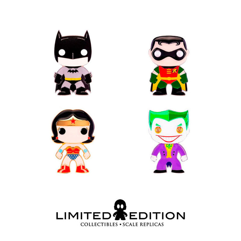 Pin para ropa en tamaño funko pop personaje Batman, Robin, Wonder Woman, Joker