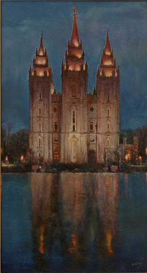 Salt Lake City Temple Original Oil on Board 8.5 X 15.5