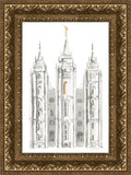 Salt Lake City Temple Watercolor in Gray