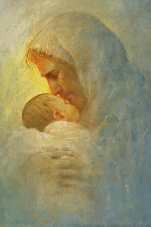 Abba is a painting that depicts Jesus Christ holds and caring for an baby - Yongsung Kim | Havenlight | Christian Artwork