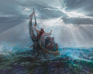 Peace Be Still is a painting that depicts Jesus Christ calming the raging sea amidst a storm - Yongsung Kim | Havenlight | Christian Artwork