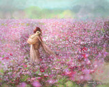 Calming Embrace painting depicts Jesus Christ holding a lost lamb in a field of pink and purple flowers - Yongsung Kim | Havenlight | Christian Artwork