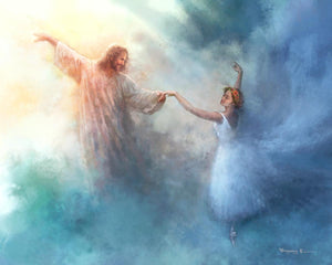 A Pas de Deux is a painting that depicts Jesus Christ dancing in the clouds with a ballerina - Yongsung Kim | Havenlight | Christian Artwork