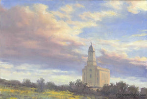 Cedar City Temple 12 X 16 Original Painting
