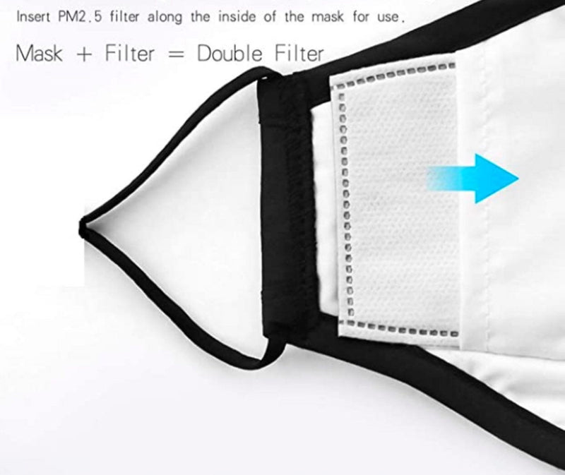 Cotton Reusable Face Mask with Respirator - Washable Reusable Filter Pocket - Includes 2 Filters