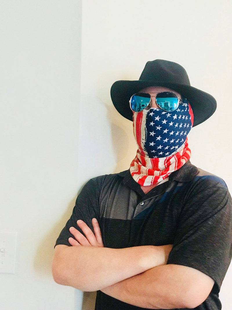 American Flag Seamless Face Mask Bandana - Ships Next Day USPS First Class - Free Shipping!